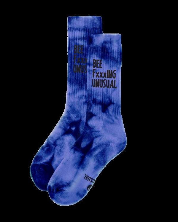Bee FxxxING Unusual Tie Dye socks Blue Tint