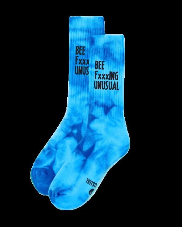Bee FxxxING Unusual Tie Dye socks Mint Blue