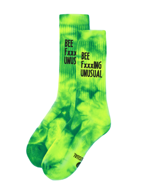 Bee FxxxING Unusual Tie Dye socks Yellow/Green